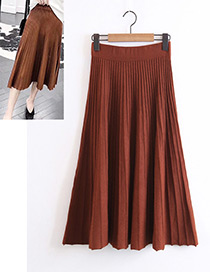 Fashion Dark Brown Pure Color Decorated Skirt