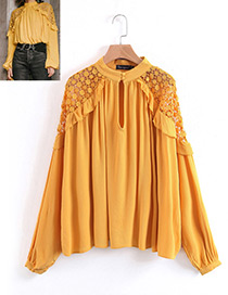 Fashion Yellow Pure Color Decorated Shirt