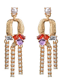 Fashion Purple Diamond Decorated Earrings