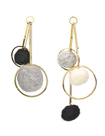 Fashioin Gold Color Ball Shape Decorated Pom Earrings
