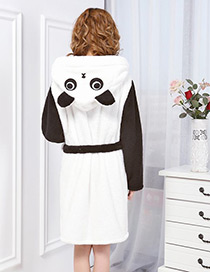 Fashion White+balck Panda Shape Decorated Nightgown