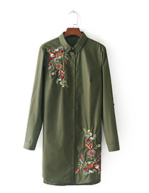 Fashion Olive Embroidered Flower Decorated Long Shirt