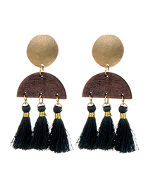 Fashion Green Tassel Decorated Earrings