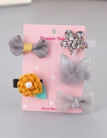 Lovely Gray+yellow Bowknot&flower Decorated Haipin(5pcs)