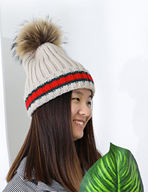 Fashion Beige Stripe Pattern Decorated Pom Adult Hat