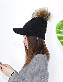 Fashion Black Ball Decorated Pom Adult Hat