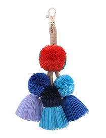 Fashion Multi-color Ball Decorated Pom Keychain