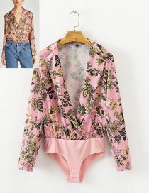 Fashion Multi-color Flower Pattern Decorated Jumpsuit