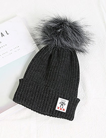 Fashion Dark Gray Ball Decorated Pom Adult Hat