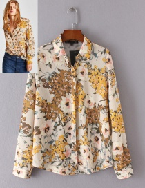 Fashion Multi-color Flower Pattern Decorated Shirt