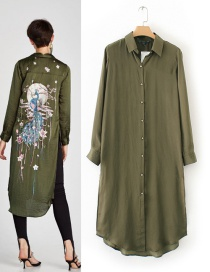 Fashion Olive Green Pure Color Decorated Shirt