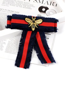Fashion Red+navy+gold Colof Bee Shape Decorated Brooch