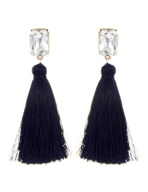 Fashion Navy Square Shape Diamond Decorated Tassel Earrings