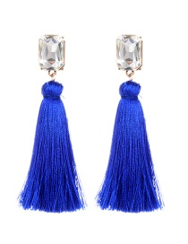 Fashion Sapphire Blue Square Shape Diamond Decorated Tassel Earrings