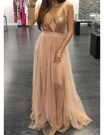Fashion Light Pink Pure Color Decorated V Neckline Dress