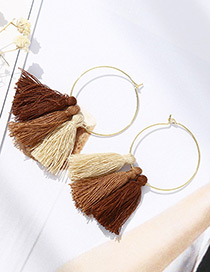 Fashion Coffee Tassel Decorated Simple Earrings