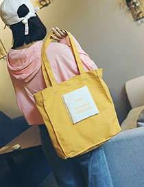 Fashion Yellow Letter Pattern Decorated Shoulder Bag