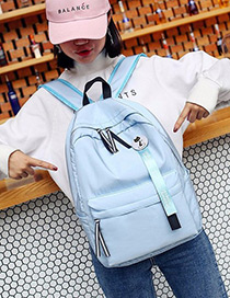 Fashion Blue Ribbon Decorated Simple Backpack