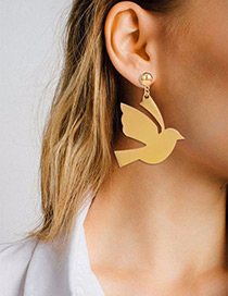 Fashion Gold Color Peace Dove Decorated Pure Color Earrings