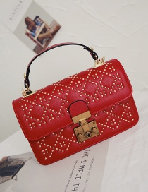 Fashion Red Rivets Decorated Square Shape Shoulder Bag