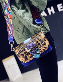 Fashion Blue Leopard Pattern Decorated Shoulder Bag