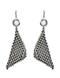 Exaggerated Black Full Diamond Decorated Pure Color Earrings