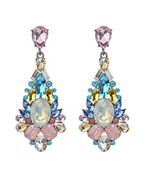 Vintage Multi-color Diamond Decorated Flower Shape Earrings