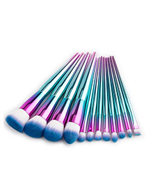 Fashion Blue+pink Round Shape Decorated Makeup Brush(12pcs)