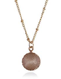 Elegant Beige Rouond Shape Pendant Decorated Necklace