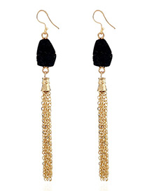 Fashion Black Chains Decorated Long Tassel Earrings