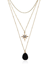 Elegant Black Geometric Shape Decorated Multi-layer Necklace