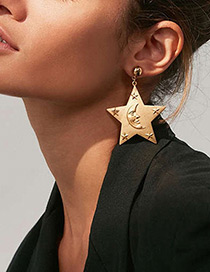 Fashion Gold Color Stars&moon Decorated Pure Color Earrings