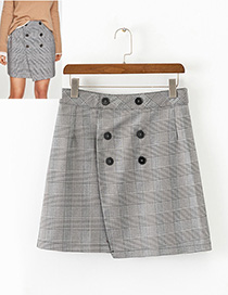 Fashion Gray Grid Pattern Decorated Simple Skirt