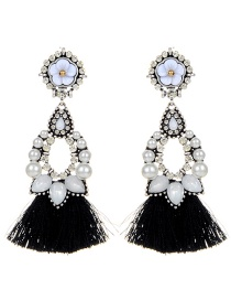 Fashion Black Flower Decorated Tassel Earrings