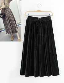 Trendy Black Pure Color Decorated Adjustable Skirt