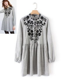 Trendy Gray Flower Pattern Decorated Long Sleeves Dress