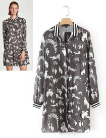 Trendy Gray Animal Pattern Decorated Long Sleeves Dress