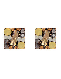 Fashion Yellow Full Diamond Decorated Square Shape Earrings