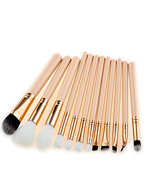 Fashion Beige Round Shape Decorated Makeup Brush(12pcs)