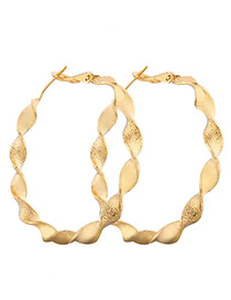 Fashion Gold Color Spiral Shape Design Pure Color Earrings