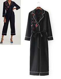 Fashion Black Embroidery Flower Decorated Long Sleeves Jumpsuit