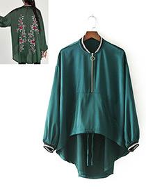 Fashion Green Pure Color Decorated Irregular Shape Coat