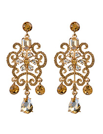 Vintage Champagne Hollow Out Decorated Earrings