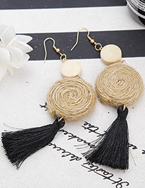 Bohemia Black Round Shape Decorated Tassel Earrings