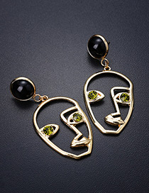 Personality Green Mask Shape Decorated Earrings