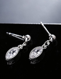 Elegant Silver Color Oval Shape Diamond Decorated Earrings