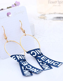 Fashion Blue Letter Pattern Decorated Earrings