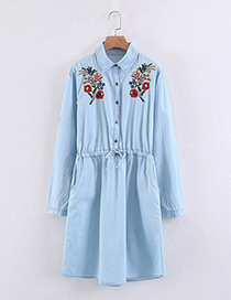 Bohemia Light Blue Flower Pattern Decorated Long Shirt