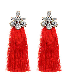 Bohemia Red Waterdrop Shape Diamond Decorated Tassel Earrings