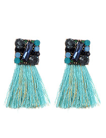 Bohemia Light Blue Square Shape Decorated Tassel Earrings